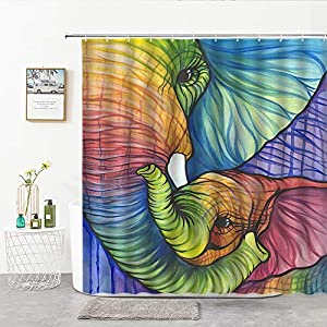 Xnichohe Animal Elephant Shower Curtain Abstract Pattern Watercolor Africa Wild Creature Mom and Child Color Stripes Polyester Cloth Fabric Bathroom Curtains Decor Set with 12 pcs Hooks,70 x70 Inches