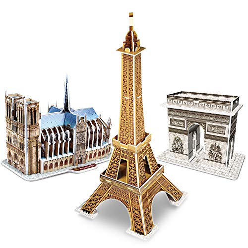 CubicFun 3d Jigsaw Puzzle UK London Architecture Building Model Landmark Kit Gift for Children and Adults, Eiffel Tower Notre Dame de Paris (Small 3 French Puzzles)