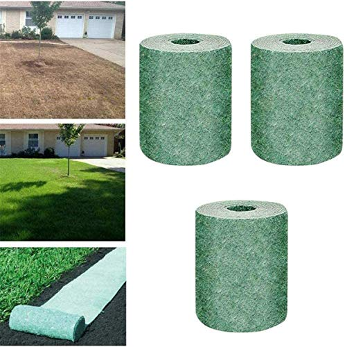 Runaty Biodegradable Grass Seed Mat, Flower Seed Mulch Lawn Planting Fabric Floor Mat Without Seeds, Keep Warm and Windproof 20x300cm x 3 bags