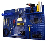 Pegboard Organizer Wall Control 4 ft. Metal Pegboard Standard Tool Storage Kit with Blue Toolboard and Blue Accessories