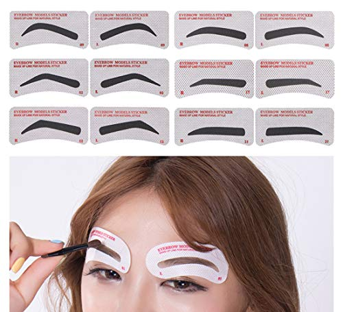 60 PCS Eyebrow Stencils 6 Styles Non-Woven Shaping Grooming Stencil Kit Eyebrow Drawing Guide Makeup Template DIY Tools For Beginners
