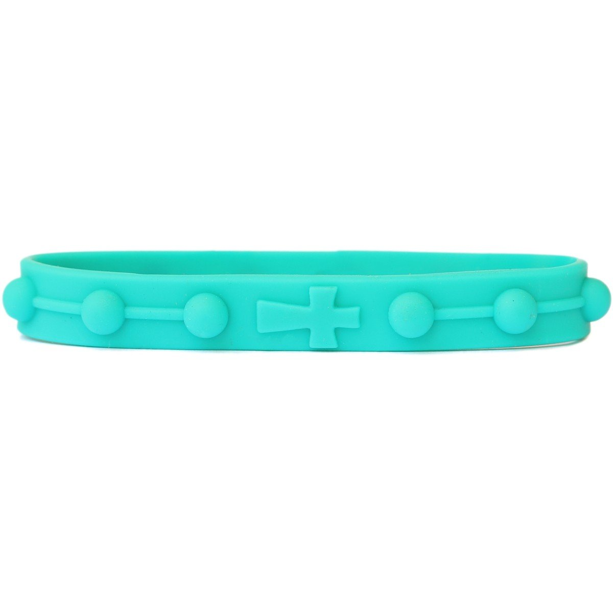 SayitBands 1 Rosary Wristband Bracelet in Teal (8 inch Size for Teen/Adult)