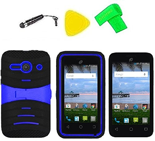Hybrid w Kickstand Cover Case Phone + Extreme Band + Stylus Pen + Screen Protector + Pry Tool For Straight Talk Tracfone NET10 Alcatel Prepaid Onetouch Pixi PULSAR LTE A460G (S-Hybrid Black Blue)