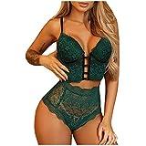 xoxing Women Plus Size Lingerie Lace Halter Sleepwear Intimates Sexy G-String Underwear Nightwear Tank Tops (O) Green