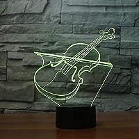 アクリルUSBノベルティ3DバイオリンシェイプテーブルランプLED7色雰囲気ナイトライト楽器ライト子供ギフトルームの装飾