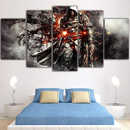 5 Stück Leinwand Hd Spiel Poster Drucke Wandkunst Assassins Creed Bilder Leinwand Malerei Wohnkultur Картины На Стену(size 3)