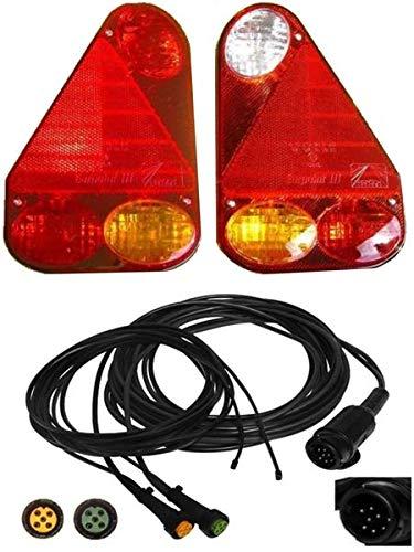 FKAnhängerteile Aspöck Earpoint 3-13 pol. - Set Leuchten und Kabel 5 Meter 2X 3,0 DC mit Abgang