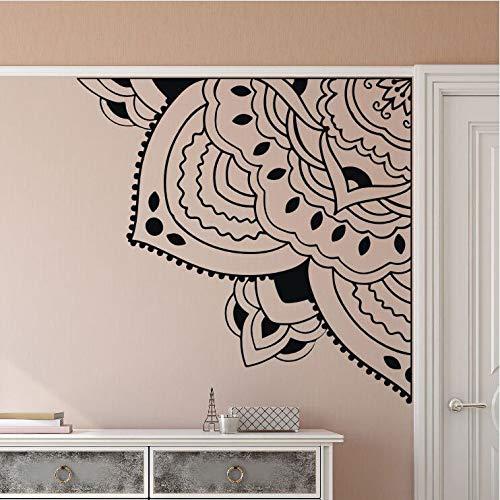 Esquina Mandala Flor Etiqueta de la pared Puerta Ventana Decoración Quarter Mandala Meditación Arte de la pared Calcomanía Regalo femenino Otro color 43x42cm