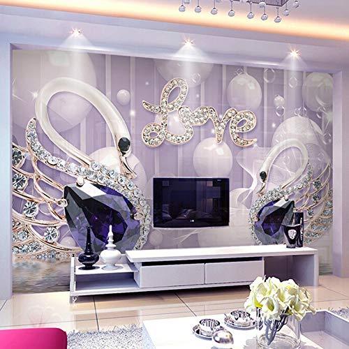 Abihua FototapeteRomantische Lila3D Swan Jewels Love Photo Wallpaper Wohnzimmer Tv Sofa Hintergrund Wandverkleidung 3D Papel De Parede