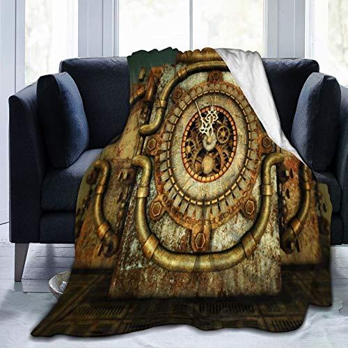 PANILUR Flanell Fleece Soft Throw Decke,Orange Steampunk Eleven Fifty Five Red Clock Uhrwerk Fantasy Cylinder Metal Retro,für Sofas Sofa Stühle Couch Leicht,warm und gemütlich 204x153cm