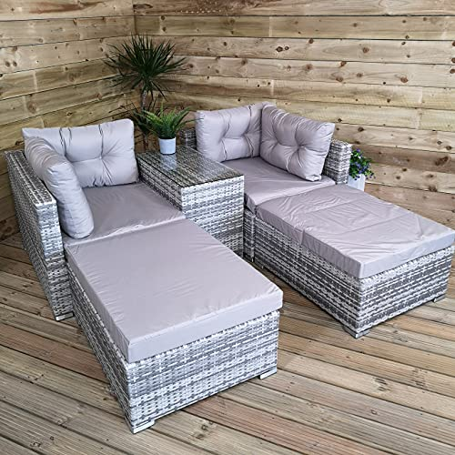 Samuel ALEXANDER Luxury Wicker Sturdy Rattan Garden Furniture Set Grey Sofa Cube Sun Lounger Set With Glass Topped Coffee Table Includes Cushions