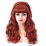 Lange lockige wellenförmige voller Kopf Halloween Kupfer rote Perücken für Frauen Cosplay Kostüm...