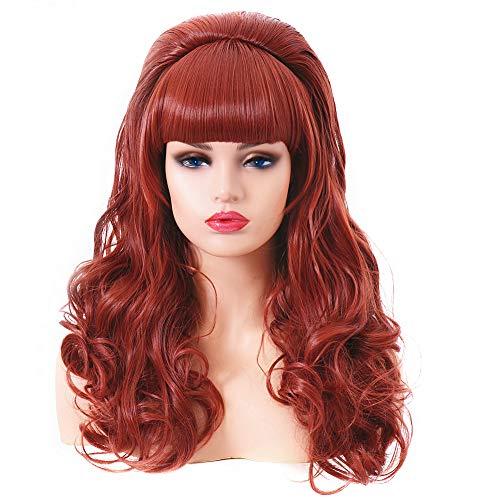 Lange lockige wellenförmige voller Kopf Halloween Kupfer rote Perücken für Frauen Cosplay Kostüm Party Perücke mit Pony für 70er Jahre (EINWEG)