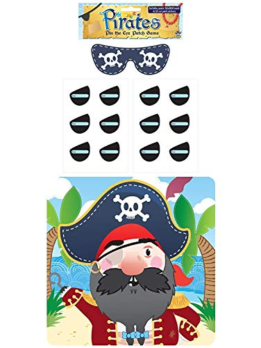 (1-Pack, Multi) - Henbrandt Stick The Eye Patch On The Pirate Game - Party Childrens Kids Pin Tail Activity