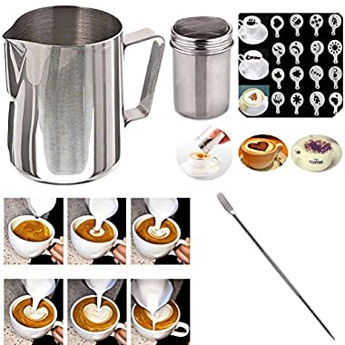 Buytra Stainless Steel Milk Frothing Pitcher 12 oz Coffee Shaker Duster Icing Sugar Powder Cocoa Flour Sifter 16 Pieces Cappuccino Barista Coffee Art Stencils Pen