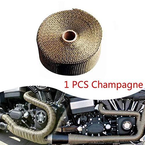 5M Motorrad Auspuff Thermoband Kopfwärme Wrap Manifold Dämmrolle Resistant Mit Edelstahl Krawatten Autozubehör (Color : Champagne)