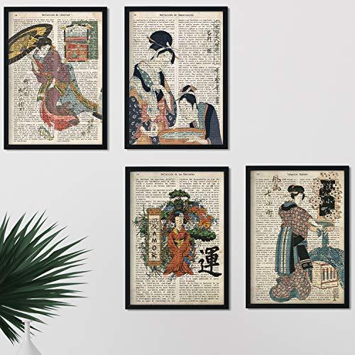 Pack de Cuatro láminas Vintage japonesas con definiciones lenguaje japones, comunicacion, emociones y Libertad Tamaño A4 - Sin Marco. 250 Gr