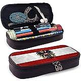 Österreich Flagge Hohe Kapazität Leder Federmäppchen, Bleistift Stift Schreibwaren Halter Große Aufbewahrungstasche Box Organizer, Stuff & Travel Tragetasche