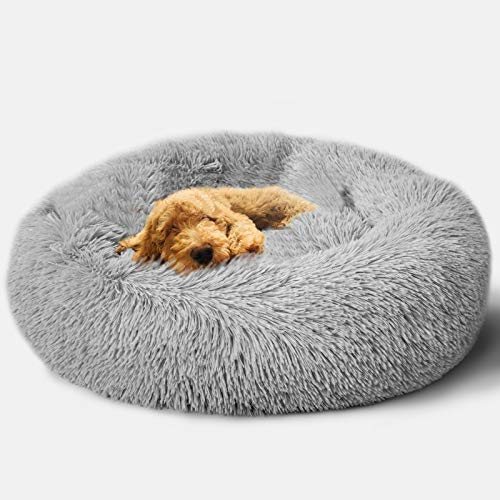 Foxmas Fluffy Dog Bed Cat Bed Faux Fur Plush Pet Beds for Small/Medium Dogs or Cats, Round Ultra Soft Donut Best Dog Bed Durable Machine Washable Dog and Cat Cushion Multiple Sizes (23''/30'')
