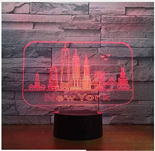New York City Bâtiment 3D Nuit Lumière Led Atmosphère Chambre Table Lampe Belle 7 Changement De Couleur 3D Usb Led Nuit Lumière