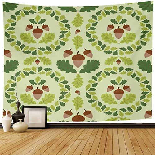 Tapiz Colgante de pared Guirnalda de otoño Patrón de bosque verde Bellotas Roble Niño Naturaleza Otoño Frontera del bebé Botánico Decoración del hogar Tapices Dormitorio decorativo Sala de estar Dormi