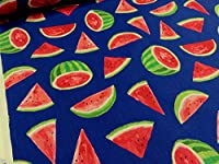 フルーツシリーズ スイカ ブルー シーチング 生地 布地 服地 プリント生地 コットン 浴衣