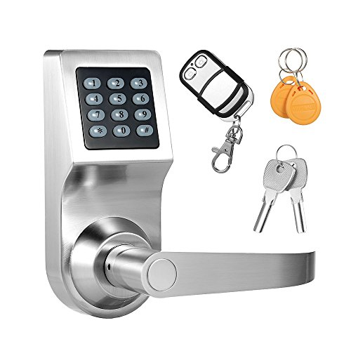 Decdeal 4-in-1 Electronic Keypad Coded Lock Unlocked by Password/RF Card/Remote Control/Key (Silver)