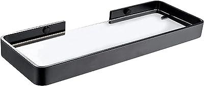 シャワーラック バスルームガラスシェルフガラスシェルフ、ブラックシャワーシェルフ、スペースアルミニウム棚、壁掛け式シャワーキャディオーガナイザー、ネイルフリー(カラー:マットブラック、サイズ:45 * 12cm) (Color : Bright Black, Size : 45*12cm)