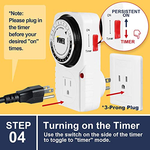 IPOWER 24 Hour Plug-in Mechanical Electric Outlet Timer