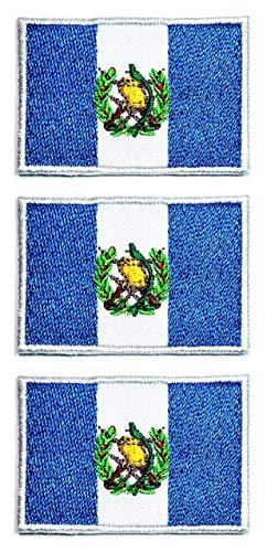 ONCEX Aufnäher mit Guatemala-Flagge & Guatemala-Flagge, ländliche Nationalflagge, bestickt, zum Aufbügeln oder Aufnähen, Militäruniform, Kleidungsdekoration (Mini-Flagge 3,1 x 4,3 cm), 3 Stück