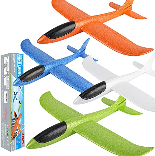 """BooTaa 4 Pack Airplane Toys, 17.5"""" Large Throwing Foam Plane, 2 Flight Mode, Foam Gliders, Flying Toys, Birthday Gifts for Boys Girls Kids 3 4 5 6 7 8 9 10 11 12 Year Old Boys,Outdoor Sport Game Toys"""