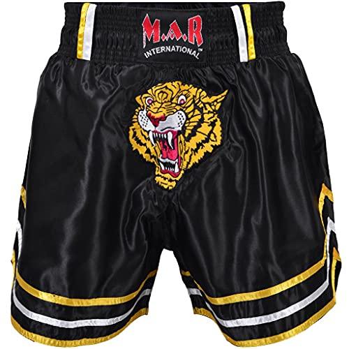 MAR International Ltd Kick Boxing Thai Boxing Shorts Kickboxing Bottoms Mma Pants Boxing Clothing Muay Thai K1 Gear Polyester Satin Fabric Black Child LargeX Small