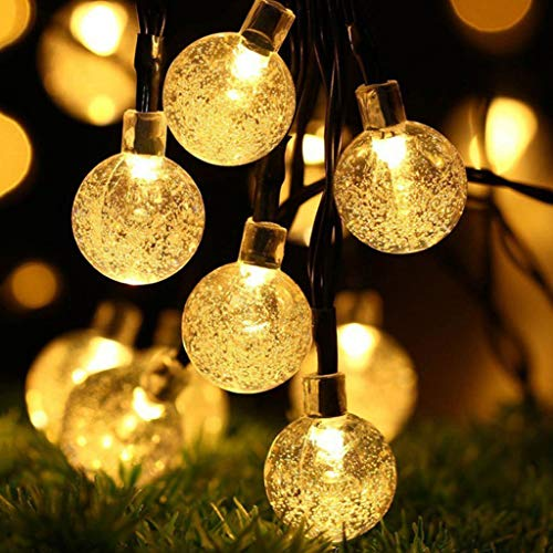 YS & VV Solarverlichting 6,5 Mt 30 solarlampen solarlampen kristallen bol LED-lamp lichtslang Bewegt zonne-energie voor buiten verlichting erf LED tuin lichtketting Kerstmis slinger cadeau