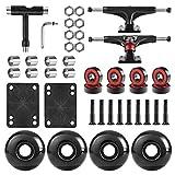 AXDT Skateboard Wheels Set,Include Skateboard Trucks, Skateboard Wheels 52mm, Skateboard Bearings, Skateboard Pads, Skateboard Hardware 1' (Black Truck & Black Wheel)