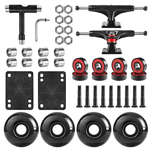"""AXDT Skateboard Wheels Set,Include Skateboard Trucks, Skateboard Wheels 52mm, Skateboard Bearings, Skateboard Pads, Skateboard Hardware 1"""" (Black Truck & Black Wheel)"""