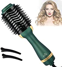 Hair Dryer and Volumizer Brush, Hot Air Brush with ION Generator Ceramic Coating, Hair Dryer Brush for Fast Drying & Styling, 3-in-1 Blow Dryer Brush for Straightening Curling Hair(Avocado Green)