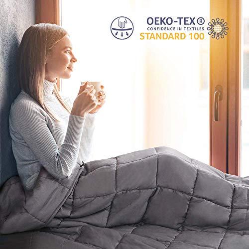 viewstar Gewichtsdecke für Erwachsene, 9.1kg Therapiedecke Anti Stress zum besseren Schlaf, Schwere Decke für Angst und Schlafstörungen, Weighted Blanket aus Baumwolle, Schwerkraftdecke Grau 150x200cm
