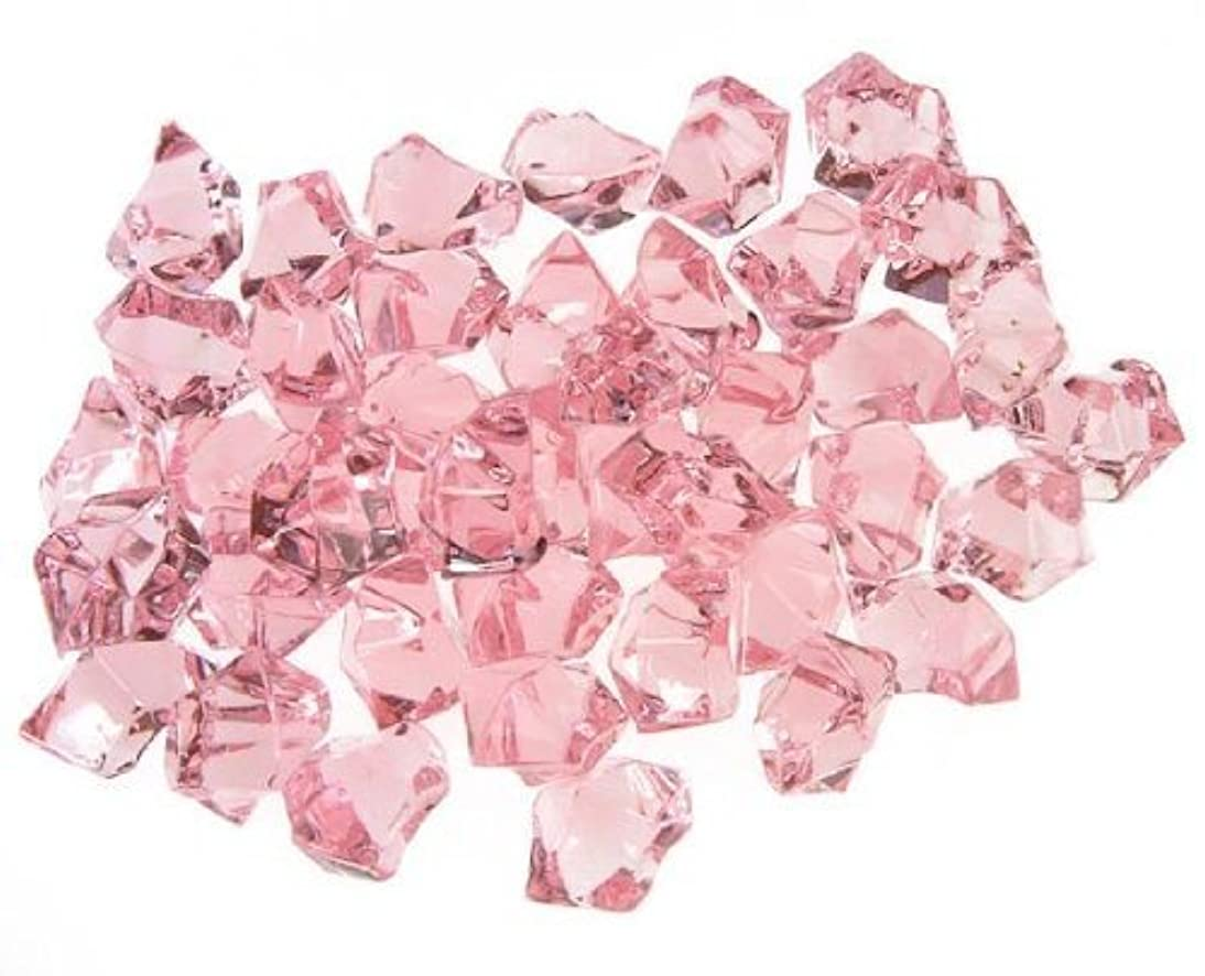 CYS EXCEL Acrylic Ice Rocks for Vase Fillers, Acrylic Gems for Table Scatters, Event, Wedding, Birthday Decoration (Acrylic Ice Pink, 1 Pound)