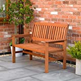 garden mile Two Seater Hardwood Garden Patio Bench 2 Seat Chair Garden Furniture Outdoor Chair Easy Assembly Waterproof Weatherproof Seating