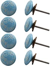 Indian-Shelf Handmade Ceramic Flat Furniture Knobs Etched Kitchen Pulls Wardrobe Handles(Turquoise, 1.75 Inches)-Pack of 8