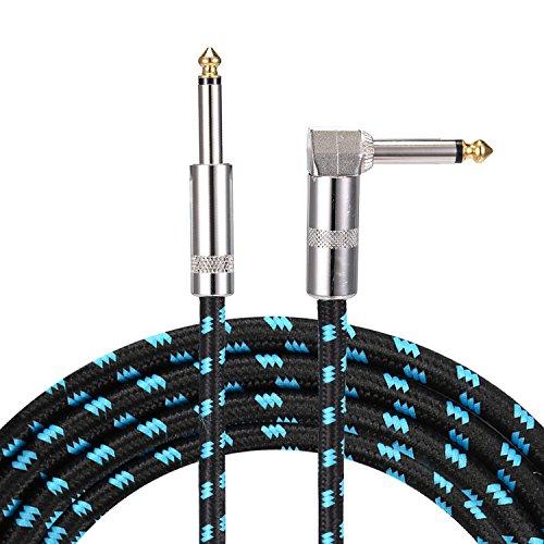 Asmuse Instrumentenkabel E Bass Gitarre Kabel Rechtwinkliger Gtarrenkabel Profesionell Lärmschutz 6.3mm 1/4 Zoll für Gitarre Bass Keyboards Amps (3m Blau)