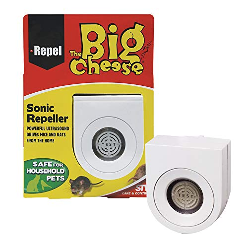 The Big Cheese Sonic Mouse and Rat Repeller, Plug-In, Humane, Ultrasonic Rodent Pest Deterrent for the Home, Covers up to 37 sq m, Safe for Use Around Cats and Dogs