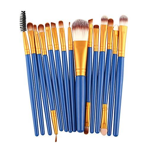 LaoZanA Pinceaux Maquillage Cosmétique 15Pcs Ensemble - NJ15Bleu