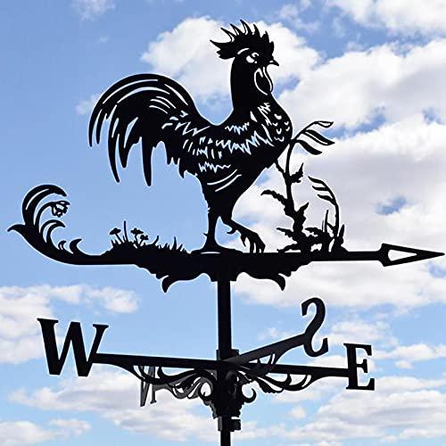 Veleta Decorativa de Gallo para Herramientas y Regalos de Jardín en Techo Al Aire Libre, Indicador Dirección del Viento de Acero Inoxidable