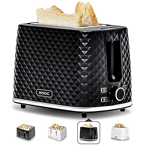 [NEW LAUNCH] KOOC Toaster 2 Slice, 1.5-inch Extra-Wide Slot for Evenly Toast, 6 Shade Settings, Bagel/Defrost/Cancel in 1, Stainless Steel Inner, Removable Crumb Tray, Bonus Exclusive Recipes, Black
