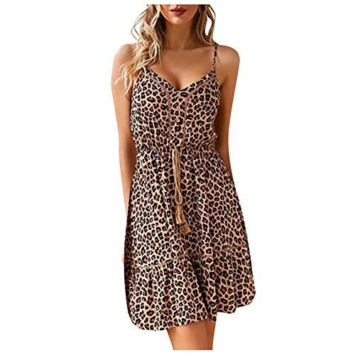 Kobay-Damen Bequem und Atmungsaktiv Sommer V-Ausschnitt Ärmelloses Leopardenmuster Lässiges Mini Plissee Kurzkleid Geschenke für Frauen