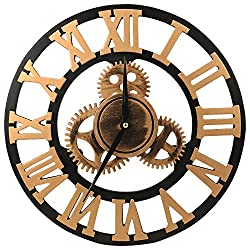 ShuaXin 18 inch Silent Gear Wall Clock - Large 3D Retro Rustic Country Decorative Luxury Wall Art Big Antique Wooden Wall Clock Vintage for Living Room House Hotel Coffee Bar, (Golden Roman Numerals)