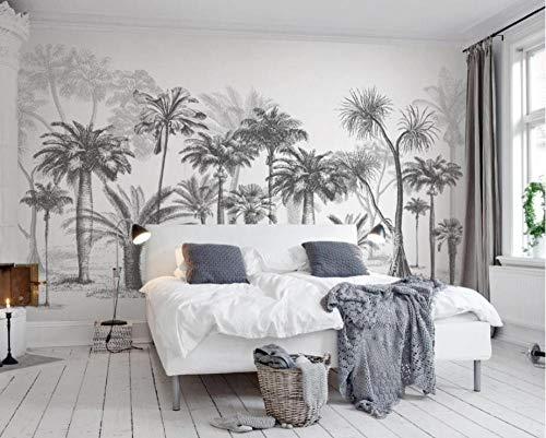 Fotobehang Fotobehang Zwart-wit Grote boom Tropisch regenwoud Kokospalm moderne tv-bank Achtergrond muur 3d behang-200x140cm(78.7by55.1in)