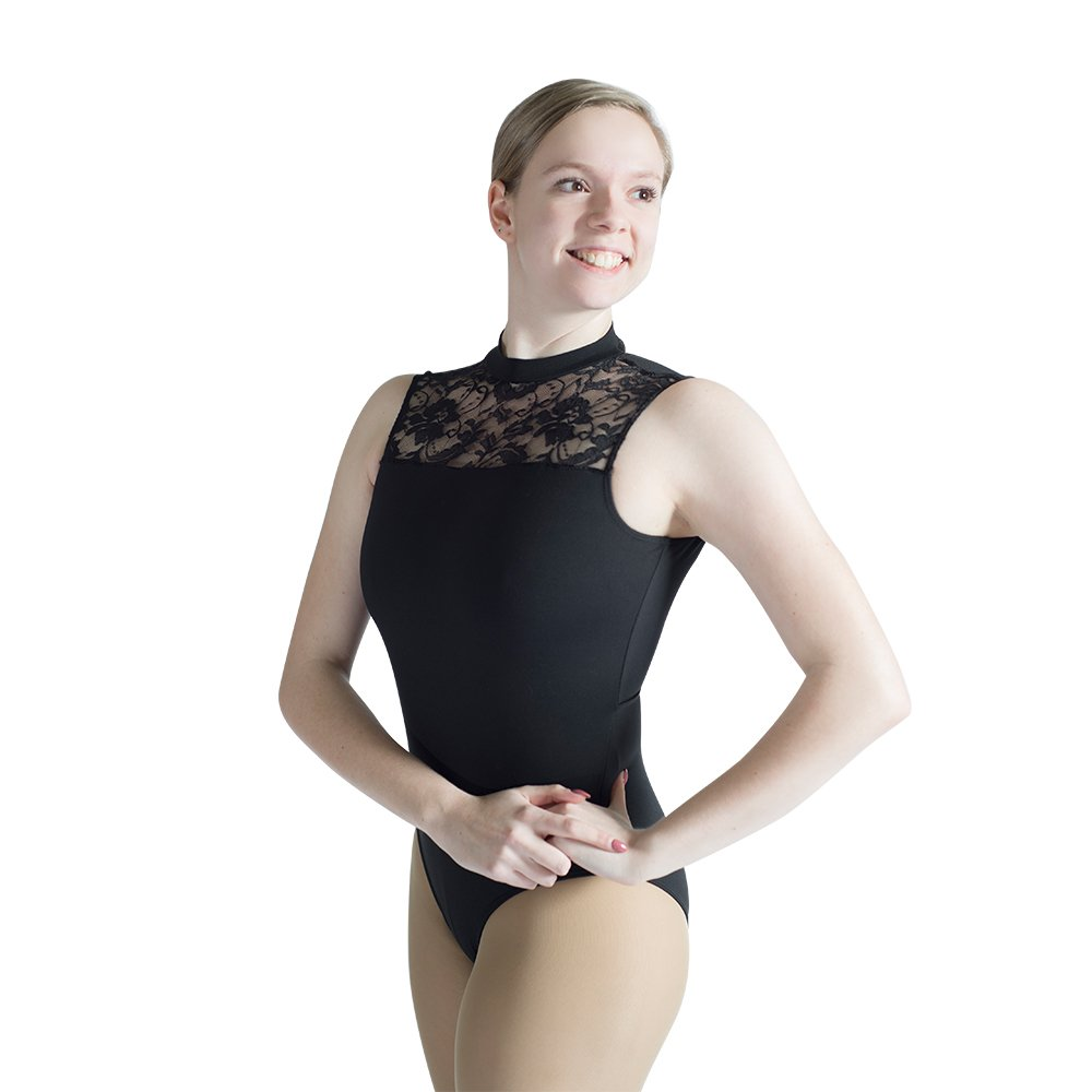 ovimo Ballet Dance Leotard Sleeveless Open Back High Mock-Turtleneck Neck Bodysuit