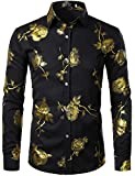 ZEROYAA Mens Hipster 3D Golden Rose Floral Printed Slim Fit Long Sleeve Button Down Dress Shirts ZZCL22 Black Large